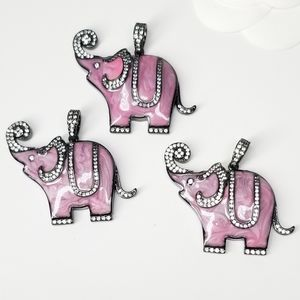 NEW Pink Elephant Enamel Pendant Charm Necklace